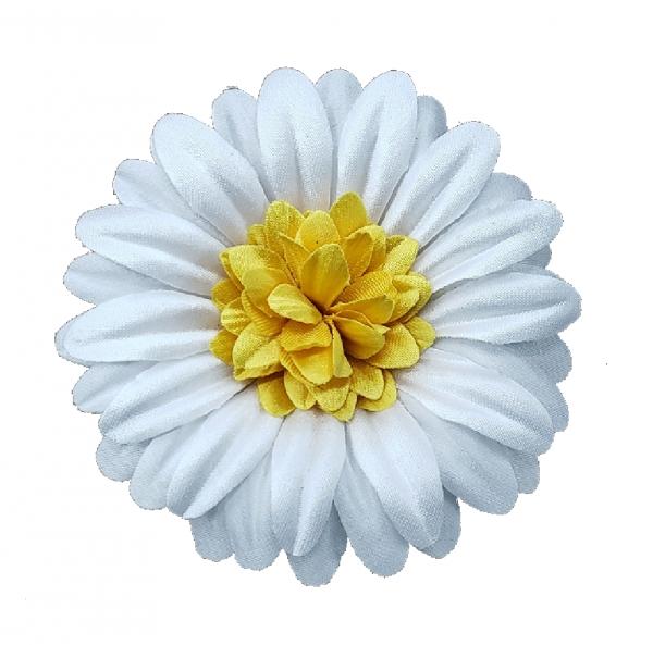 white daisy fabric flower pin
